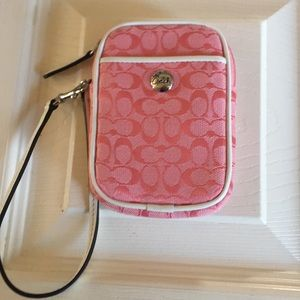 Coach NWT Pink Signature wristlet cam/cell   case